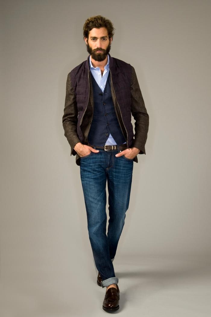 Brunello Cucinelli Uomo PE 14 - giacca magrogalles lino-lana-seta con panciotto in lino e piumino overcheck lino-lana-seta